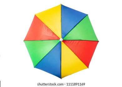 Summer vacation concept. Beach umbrella multicolour,  isolated on a white background
