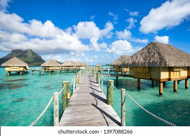 Summer vacation at a luxury resort overwater bungalow in the South Sea