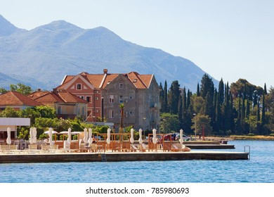 Summer vacation. Montenegro, view of Bay of Kotor(Adriatic Sea), Tivat city. Free space for text