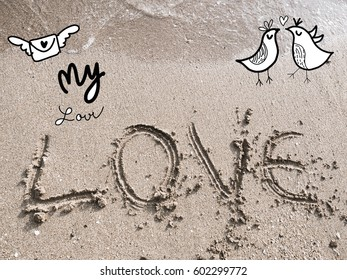 Summer vacation on sandy ocean beach, Summertime Lifestyle  flat lay top view .Concept summer love  time.Draw doodle love cartoon style.