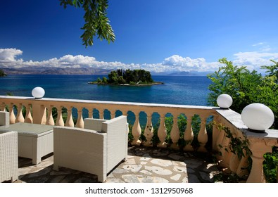 Summer vacation overlooking the Mouse Island. Beautiful landscape on the coast of Corfu island in Greece