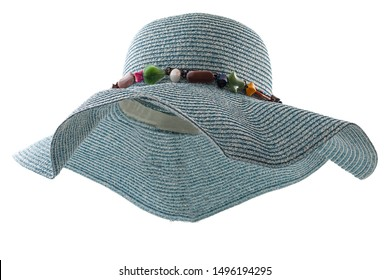 Summer vacation protective wear conceptual idea with blue floppy straw hat isolated on white background with clipping path cutout, showing the interior of the hat with a ghost mannequin technique