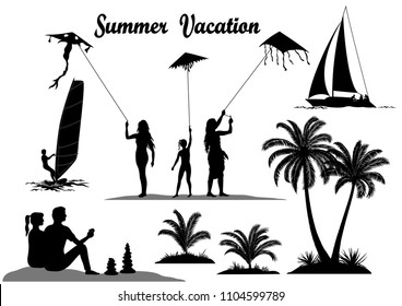 Summer Vacation Set. People with Kites, Surfer in the Sea, Tropical Palm Trees and Exotic Plants, Sailboat, Black Silhouettes Isolated on White Background.