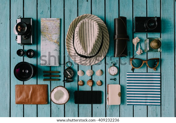 Summer vacation things neatly organised. Travel concept. Flat lay.