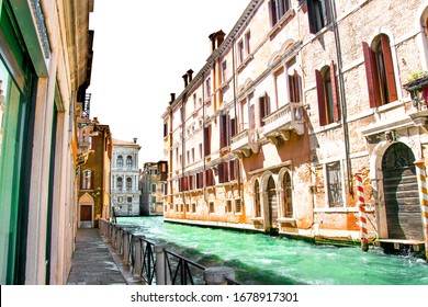Summer in Venice, Italy. View of old buildings, narrow streets and bridges. Monuments of one of the most beautiful cities in Italy.