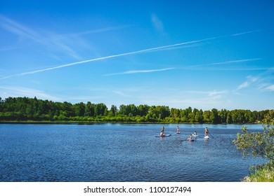Summer vibes, group of friend enjoying summer on water, sups in lake