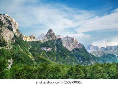summer viev of Prokletije mountains in Grebaje valley in Montenegro