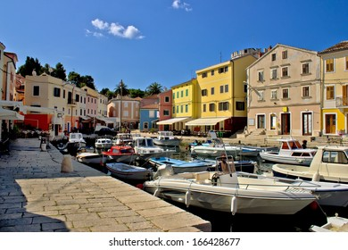 Summer viev of Veli Losinj colorful waterfront and harbor, Dalmatia, Croatia