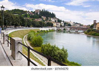 Summer view of the Adige River Embankment in Verona, Italy