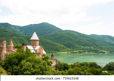 Summer view of Ananuri church and fortress in Georgia