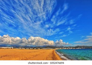 Summer view of the beach of St. Anna, Naxos island, Greece
