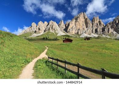 summer view of Cirspitzen montain from Gardena pass, Italian Dolomites
