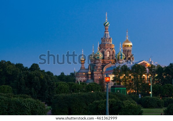 Summer view of the Field of Mars (Marsovo Polye) and Church of the Savior on Spilled Blood (Cathedral of the Resurrection of Christ) in wite night of Saint-Peteresburg city, Russia