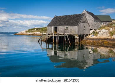 Summer view of fishermen houses at Peggy's Cove, Nova Scotia, Canada