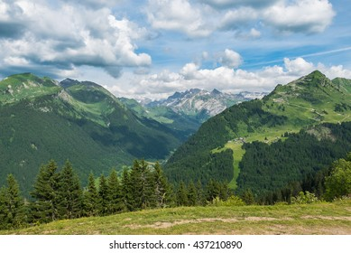 Summer view in the french alps above Morzine. Towards Schweiz.