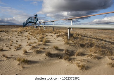 Summer view of a gas well