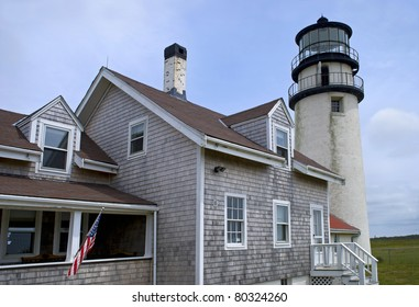 A Summer view of the Highland Lighthouse in Truro on Cape Cod in Massachusetts.