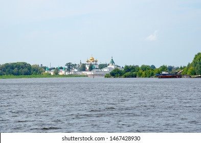 Summer view of the Holy Trinity Ipatiev male monastery on Kostroma River in old russian city Kostroma, Yaroslavl region. The Golden Ring of Russia