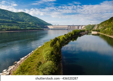 Summer, view of Hydroelectric power station on the Yenisei River in Russia, Krasnoyarsk