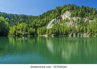 Summer view of the lake in Adrspach-Teplice rocks/Czech Republic