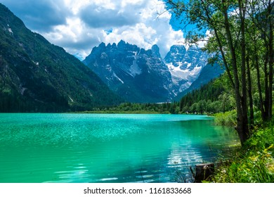 Summer view of Landro Lago, Cime di Lavaredo, Drei Zinnen, Dolomites, Italy.