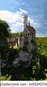 Summer view of Lichtenstein Castle (Schloss Lichtenstein). Baden-Wuerttemberg. Germany.