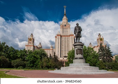 Summer view of the Lomonosov Moscow State University (MSU) is a coeducational and public research university located in Moscow, Russia. It was founded on January 25, 1755 by Mikhail Lomonosov