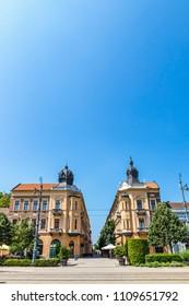 Summer view of Market Street (Hungarian: Piac utca), the major street of Debrecen city, Hungary