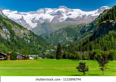 Summer view of Monte Rosa, Gressoney La Trinite, Aosta Valley, Italy