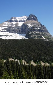 Summer view of mountain, forest and glacier in glacier national park, montana, usa