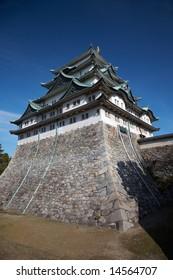Summer view of Nagoya Castle under blue sky. Japan