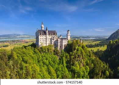 Summer view of Neuschwanstein Castle, Fussen, Bavaria, Germany