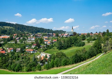 Summer view to Oberstaufen city in Allgau Germany near Bodensee and The Alps