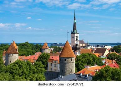 Summer view of old city. Estonia, Tallinn.