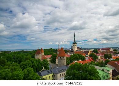 Summer view of old city. Estonia, Tallinn