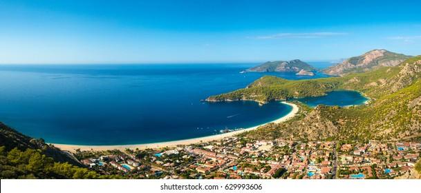 Summer view to Oludeniz lagoon beach landscape Fethiye Turkey