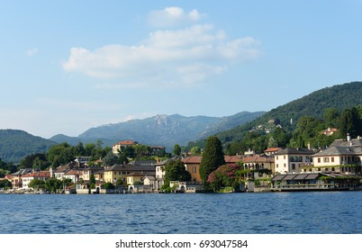 Summer view on the Village of San Giullio at Lake Orta in the Piemonte region in Italy