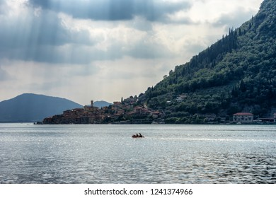 Summer view over Lago d'Iseo in Italy