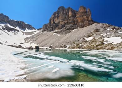 summer view of  Pisciadu lake and Sas de Lech peak in Sella mountain, sudtirol, Italy