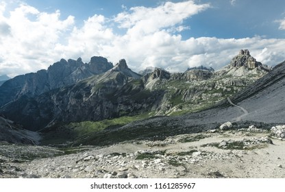 Summer view from road in Tre Cime di Lavaredo National Park, below the Cristallo group, Alps mountain. Dolomites South Tyrol. Location Auronzo Italy Europe.