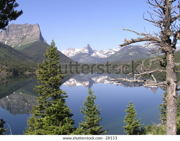 summer view of Saint-Mary lake  on the hiking trail of Rising sun in East Glacier national park Montana, USA