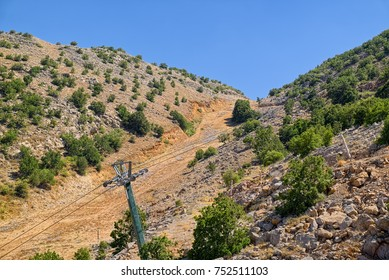 Summer view of slope of Mount Hermon, the highest point in Israel, which fills by snow at winter and become a popular ski resort.
