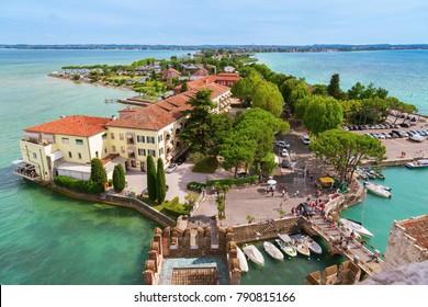 Summer view of small Italian town Sirmione. Italian Lake Garda and small village. June 2017. Italian urban landscape.