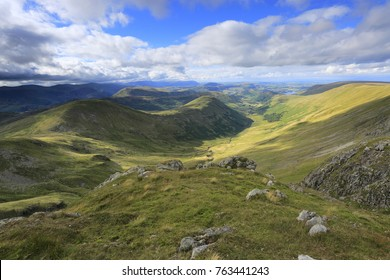 Summer view through the Martindale valley, Lake District National Park, Cumbria County, England, UK