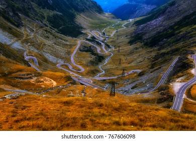 Summer view of Transfagarasan road, Romania