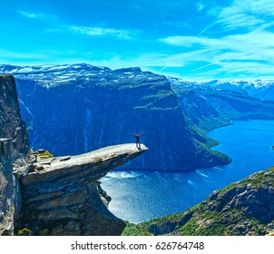 The summer view of Trolltunga (The Troll's tongue) in Odda ( Ringedalsvatnet lake, Norway).