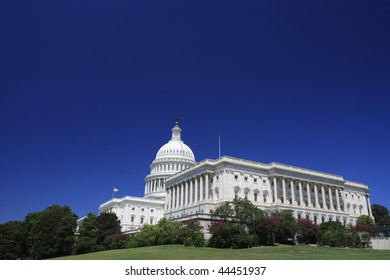 Summer view of the United States Capitol, Washington DC - copy space.