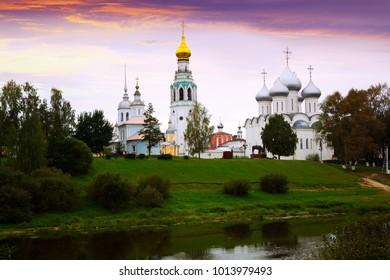 Summer view from Volga river of Kremlin (Cathedral) Square, Vologda
