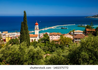 Summer view of Zakynthos Zante town. Beautiful cityscape panorama of Greece city.