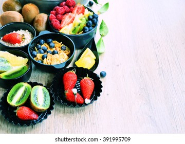 summer vitamin background ,cooking of fresh fruit ,on wooden background with space for text or logo